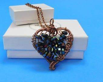 Heart Necklace for Girlfriend Gift, Unique Wire Heart, Necklace for Gift, Wire Heart, Sculpted Heart, Copper Heart, Pendant Necklace