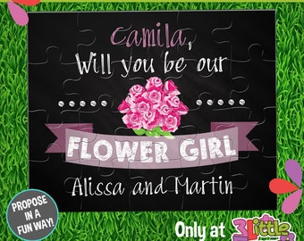 Be My Flower Girl Puzzle - Personalized Flower Girl Announcement Puzzle - Personalized 8x10 Puzzle - Chalkboard Flower Girl Proposal Puzzle