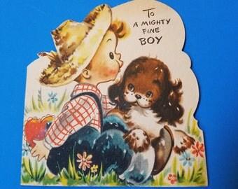 """Valentine's day card, 1940s, """"To a mighty fine boy"""" little boy with puppy, vintage Hallmark, w/envelope"""