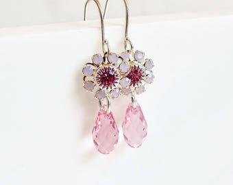 Pink crystal flower earrings - crystal earrings - Swarovski crystal - pink flower earring