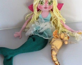 Art Doll Soft Sculpture Mermaid rag doll and seahorse pet, handmade in the USA