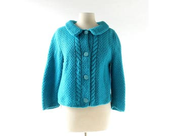 Chunky Knit Cardigan | Fille Bleue | 1960s Sweater | Large L