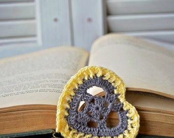 Handcrafted Heart Shaped Bookmark Gray and Yellow Handmade Crocheted Heart for valentines