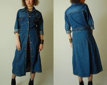 Denim Dress Coat Vintage 90s Dark Wash Cotton Draped Denim Shirt Dress Duster Coat (s m)