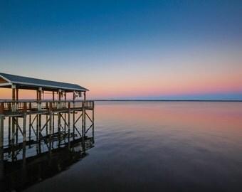 Gradient  Florida Sunset & Dock Fine Art Print - Travel, Scenic, Landscape, Nature, Home Decor, Zen