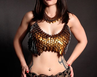 The Bronze Queen-Deluxe Scale Maille scalemail chainmaille halter bra bikini top armor LARP Burning Man steampunk elf