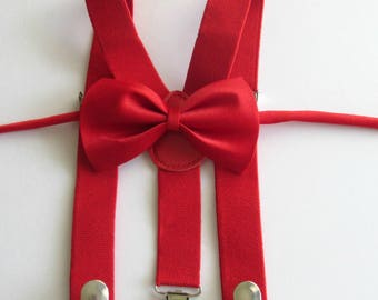 Boys suspenders bow tie, red suspenders bow tie, baby suspenders, infant toddler kids, boys first birthday, photo prop, cake smash outfit