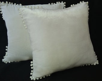 white velvet pillow with pom poms, fun pillow, velvet pillow, velvet cushion, decorative pillow, velvet pillow cover, sofa pillow,