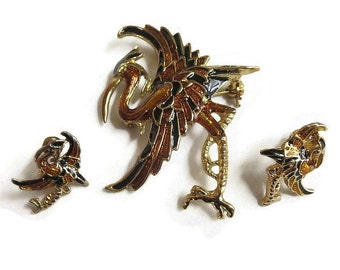 Bronze & Black Enamel Heron or Stork Brooch and Earrings Vintage Set