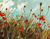 Field of poppies- original acrylic painting on wood