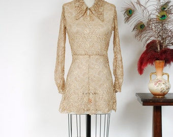 Vintage 1930s Blouse - Dramatic Sheer Gold Lace 30s Peplum with Long Sleeves and Pointed Collar