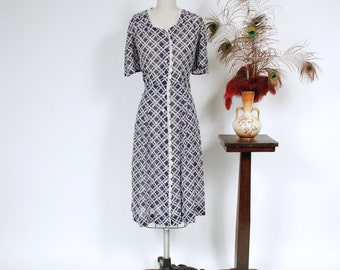 Vintage 1930s Dress - Ultralight Semi Sheer Cotton Voile 40s Day Dress with Navy and White Basketweave Print