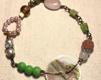 Vintage bead and button component bracelet
