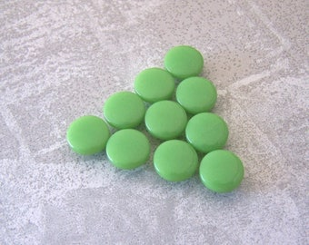 Apple Green Buttons, 12mm 1/2 inch - Small Bright Glossy Green Shank Buttons - 10 VTG NOS Little Kiwi Green Plastic Sewing Buttons PL627