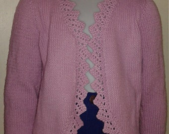 Hand knit Toddler Lavendar Ruffled Bolero, fits ages 4-5