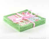 Fabric Coasters - Green Shabby Cottage Chic Roses, 4 Reversible Patchwork Mini Quilts Candle Mat Set, Pink Blue Flowers Home Decor Coasters