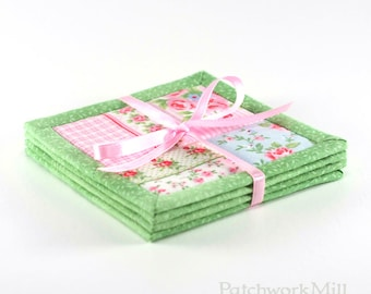 Quilted Fabric Coasters - Green Shabby Cottage Chic Roses, 4 Reversible Mini Quilts Candle Mat Set, Pink Blue Flowers Home Decor Coasters