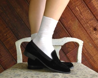 Black Velvet Square Toe Loafers Slip Ons - Vintage 80s - 7 7.5