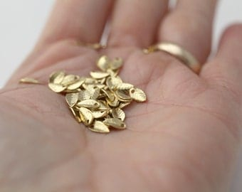 Gold Plated Brass Leaf Pendant Charms Pendants Petite 7mm (30)