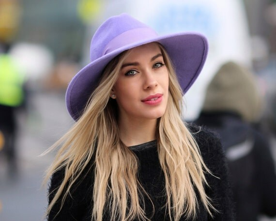 Wide Brimmed Fedora Hat Women's Hat Spring Fashion Spring Accessories Winter Accessories Lilac Hat Wide Brim Boho Hat Felt Fedora Hat