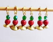 NEW - Holly Jolly Christmas - Six Handmade Stitch Markers - Fits Up To 6.5mm (10.5 US) - Limited Edition
