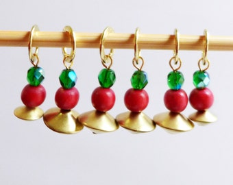 SALE - Holly Jolly Christmas - Six Handmade Stitch Markers - Fits Up To 6.5mm (10.5 US) - Last Sets