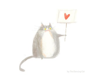 Love Not Hate Cat Print - Protest Art