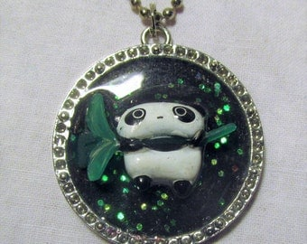 Tare Panda Lolita Necklace Kawaii Panda Necklace Japanese Anime Pendant Cosplay Jewelry One of A Kind Resin Necklace
