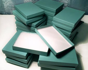 25 Jewelry Boxes | Teal | Cotton-filled | 5.25 x 3.75 x 1 inch