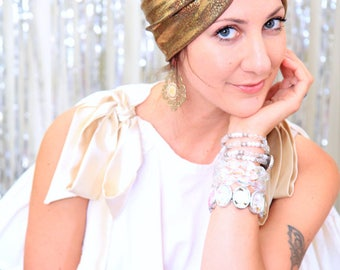 Turban Hat in Gold Hologram Metallic - Women's Fashion Head Wrap - Sparkly Full Turbans - Exotic Summer Hair