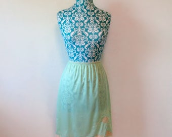 vintage half slip // aqua with lace // 1960's 60's pinup bombshell
