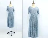 Floral Grunge Dress Vintage Floral Midi 90s Vintage Dress 1990s Grunge Dress Blue Floral Dress Blue Peasant Dress Denim Blue Floral s