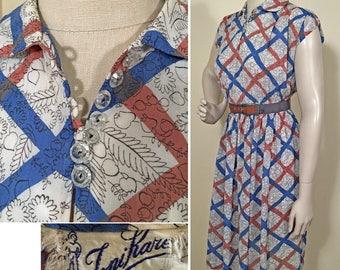 1940s Blue, White and Rust Rayon Print Chiffon Vintage Dress SZ S/M