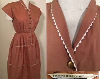 1950s Rust Cotton Vintage Shirtwaist Dress SZ S/M