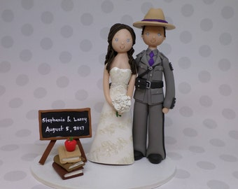 Unique Cake Toppers - State Trooper & Teacher Customized Wedding Cake Topper