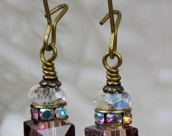 Purple Crystal Dangle Drop Earrings, Swarovski Crystal Earrings, Purple Earrings, Christmas Holiday Earrings, Christmas Package Earrings
