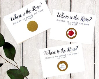 Rose Theme Party - Rose Bridal Shower Game - Enchanted Rose - Bridal Shower Scratch Off - Where is the Rose Game - Gold Wedding Scratch Off