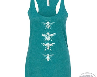 Women's BEES -hand screen printed Tri-Blend Racerback Tank Top xs s m l xl xxl  (+Colors) Zen Threads