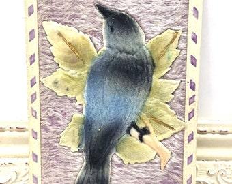 Vintage Greetings Postcard, Vintage Postcard, Paper Ephemera, Best Wishes Card, Blue Jay Bird and Green Leaf, Fabric Card, Heavily Embossed