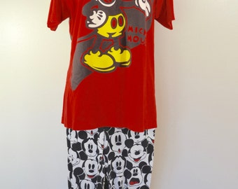 last chance Vintage MICKEY MOUSE ladies pajamas pj's made in USA 1980's official Disney