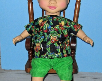 "Wonder Crew, Doll Clothes,Top and Short Set,14"" or 15"" Doll  Clothes, Boy Doll Clothes, Green and Black, Will, James, Erik, Marco"