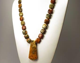 Red Creek Jasper Necklace   Long Necklace   Pendant Necklace   Natural Stone Necklace  