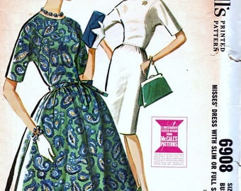 Vintage Sewing Patterns 1960s Wiggle Dress Gored Skirt Dress Mid Century Pin Up 1960s Fashion Pattern Retro McCalls 6906 Pattern Bust 38