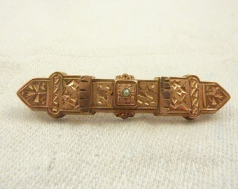Antique Victorian Gold Filled Engraved Bar Pin with Seed Pearl