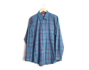 SALE // Size XL/XXL // Plaid Shirt // Navy Blue & Teal - Long Sleeve Button-Up - Oxford - Grunge - Vintage '90s.