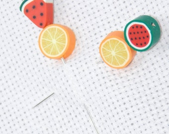 Counting pins, Fruit Pin, Cross stitch Accessory, NeedleCraft Tool, Stick Pin