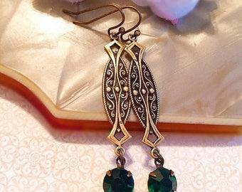 SALE 20% Off Emerald Art Deco Jewelry - Best Gifts for Mom - Emerald Earrings - ZELDA Emerald