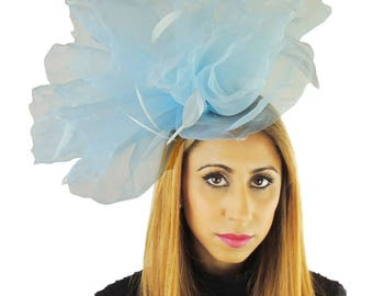 Miladhoo Baby Blue Fascinator Hat for Kentucky Derby,Melbourne Cup, Ascot (30 colours)
