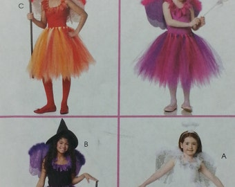 Sew Free Mccalls Costumes M6186 Childrens Girls Tutu and Top Pattern Childrens Girls Size 3 4 5 6 Easy No Sew Pattern