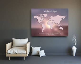 Peronalized Wedding sign Cotton anniversary gift World Map Print heart sign gift for couple housewarming gift new home print romantic decor